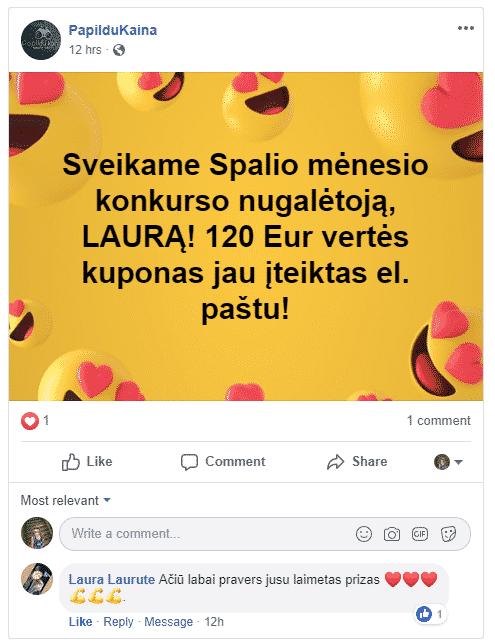 Spalio mėn konkurso nugalėtoja Laura